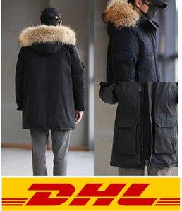 Горячие продажи Новая известная классическая мужская мода Parka водонепроницаемый Windstopper Усовершенствованная ткань толщиной с настоящим волком меховой меховой зимой Хранить теплый куртк