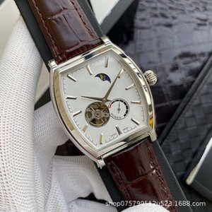 Relógios de pulso jiang refinado forma de barril vinho moda de aço relógio homens oco flywheel fase de fase automática da fase dxx4