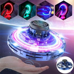 `Flying toy 360° rotating charging frisbee spinning drone with shiny childrens gift LED lights