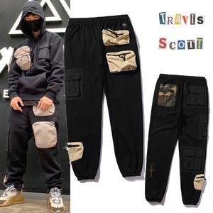 Travis Scott Ts Multi Pocket Tooling CO Marque Pantalon Casual Sportswear Couple Pantalon lâche Noir
