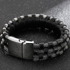 Hiphop Three Layer Men's Leather Bracelets On Hand Stainless Steel Viking Jewelry Stores Mannen Armband With Magnetic Clasp Tennis