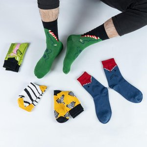 Men's Socks 1 Pair Men Cotton Funny Crew Cartoon Animal Women Unisex Fashion Street Striped Oil Printing Checks Novelty Gift