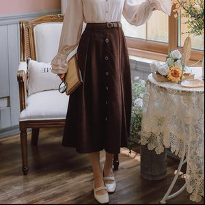 Fall Japan Style Sweet Winter Women Skirts Elastic Waist Single Breasted A Line Pleated With Belt Black Brown