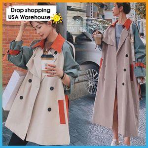 Antilingua da donna di grandi dimensioni da donna a mezza lunghezza stile britannico autunno 2021 cappotto dimagrante donne cuciture a contrasto colore trench