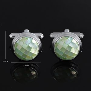 Natural Shell Stone Cuff Links Cufflinks for Mens Vintage Gold Color Plated High Quality Green Pink Stones Cufflink Gift