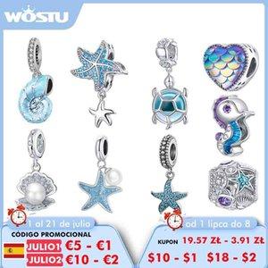 WOSTU 925 Sterling Silver Charm Sea Elves Series Bead Animal Turtle Starfish Pendant Fit Original Bracelet Necklace DIY B0X9
