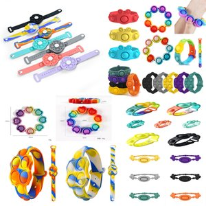Push Prevalent Bubble Fidget Braceletes Brinquedos Anel Sensorial Macaron Tie Tintura Decompressão Keychain Puzzle Press Stress Stress Bracelet Surpresa Surpresa Atacado