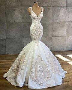 Luxury Mermaid Wedding Dress Beads Apppliqued Lace Robe De Mariee Custom Made Spaghetti Strap Beach Boho Bride Gown