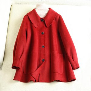 Women's Wool & Blends Double Sided Cashmere Coat Spring 2021 Baby Collar Small Lantern Sleeve Fashionable Woolen