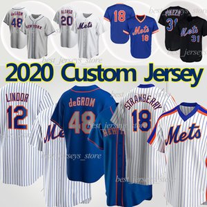 New York Mets Jersey 12 Francisco Lindor Jerseys de béisbol lindor 48 Jacob DegroT 20 Pete Alonso 18 Darryl Strawberry 31 Mike Piazza Noah Syndergaard Jersey