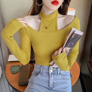 Design sense careful machine top off shoulder hanging neck long sleeve T-shirt women's 2021 spring new slim foreign style bottom c