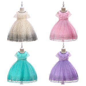 Kids Girls Princess Dress Girls Birthday Party Dresses Lace Shawl Dot Dress High Quality Kids Casual Clothes Wedding Flower Dress 06