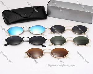 Classic Round Sunglasses Brand Design UV400 Eyewear Metal Gold Frame Sun Glasses Men Women Mirror 3547 Polaroid Fashion Lens 5 color RoundShaped commute