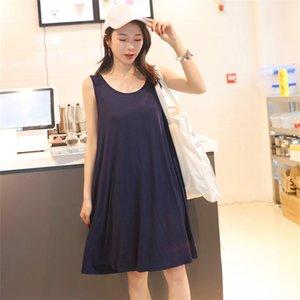 Casual Dresses Modal dress sleeveless pregnant women's skirt summer leisure large size sleeping skirt women's fat mm260kg Xia xianshou bottom skirt