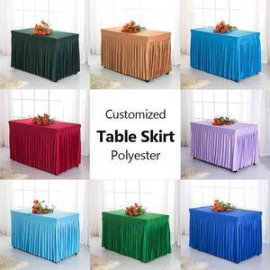 Panno da tavolo 1 PZ Personalizzato Polyester Conference Skirt da sposa Dessert Candy Cover Ristorante Tovaglia Bianco Caffè rosso nero