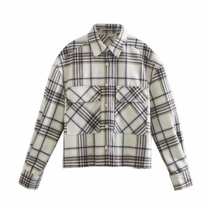 Casual Woman Beige Loose Basic Plaid Cotton Shirts 2021 Spring Fashion Ladies Soft Pocket Blouses Female Oversized Outwear Women's &
