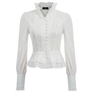 Party Club Women Blouses Lace Up Shirts Spring Fall Retro Blouse Victorian Steampunk Gothic Long Sleeve Stand Collar Corset Lacing
