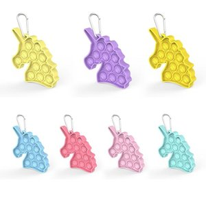Silicone Fidget Toy Party Favor unicorn keychain Autism Special Needs Stress Relief Calming Simple Dimple Sensory Toys