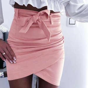 Skirts Women's Summer Irregular Pencil Bodycon Slim Short Skirt Hight Waist Lace Up Solid Color S-XL Sexy Fashion Ladies Party Clothes