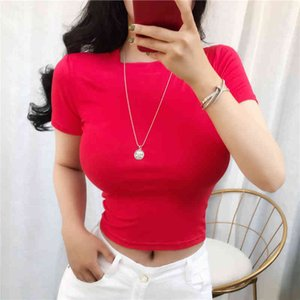 Summer Basic T Shirt Women Elasticity T-Shirt Korean Style Short Sleeve Clothes Slim Tshirt Female Tee Shirt Femme Crop Top 210412