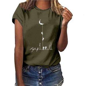 Summer 2019 women's round neck loose T-shirt Street trend moon landing program print top vip