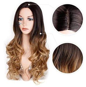 Peluca europea y americana de malla de malla de malla de gradiente de pelo rizado marrón