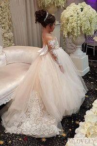 Belle dentelle princesse manches longues Fleur de fleur blanche robes avec appliques pour filles âgées de 2 à 14 ans