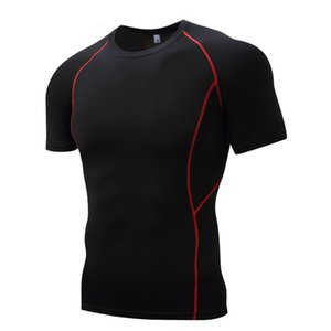 Color Graphic Breathable Cycling Wear High Stretch Short Sleeve T-shirt Sports Tights Men's Marathon