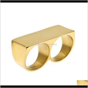 Band Drop Delivery 2021 Double Finger Fashion Hip Hop Jewelry High Quality Stainless Steel Mens Gold Rings Gons5