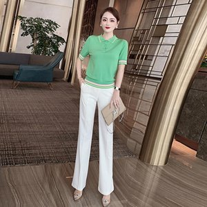 Fashion Summer Women Sets Patchwork Short-Sleeved Green Knitted T-Shirt And Casual Trousers Office Two-Piece Suit Women's Two Piece Pants