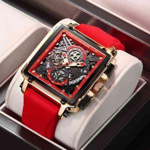 Дизайнерские часы Марка Часы Роскошные Часы Uxury Водонепроницаемый Кварцевый квадрат для мужчин Дата Спорт Полые Часы Мужской Relogio Masculino