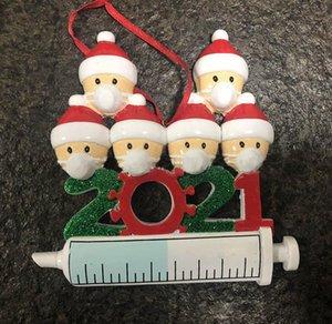 2021 Decoração de Natal Quarentine Ornaments Família de 1-7 cabeças DIY Tree Acessórios de pingente com resina de corda em estoque