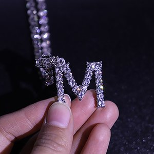 5mm Iced Out CZ Zircon Bling Letter Pendant Necklace Full Diamond 26 Initials Chain Statement Necklaces for Women Men Hip Hop Jewelry