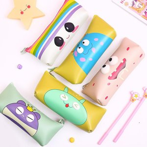 Pencil Cases Cute Case Waterproof Pu Leather Student Stationery School Supplies Cartoon Storage Bag Back To