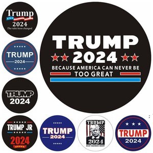 TRUMP 2024 Car Sticker U.S. Presidential Election Round Cars Stickers Keep America Great 8Colors OWB6327