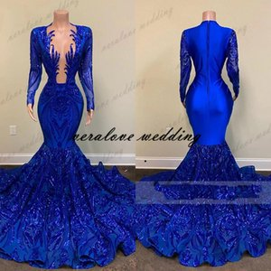 Royal Blue Mermaid Prom Dresses Sparkly Lace Sequins Long Sleeves Black Girls African Celebrity Evening Gown