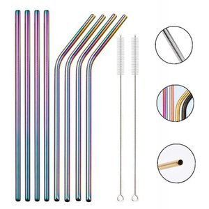 Rainbow Color Reusable Metal Straws Set With Cleaner Brush 304 Stainless Steel Drinking Straw Milk Drinkware Bar Party Accessory