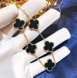 5 Colors Fashion Classic 4 Four Leaf Clover Charm Bracelets Bangle Chain 18K Gold Agate Shell Mother-of-Pearl for Women&Girls Wedding Mother's Day Jewelry Women GifE