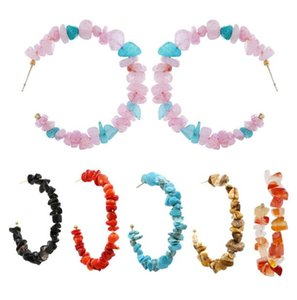 Bohemian ethnic style Hoop & Huggie earrings fashion colorful gemstone earring for women T02