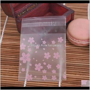 Wrap 100Pcs Cherry Blossoms Plastic Pack Packaging Bags Cupcake Wrapper Self Adhesive Birthday Party Candy Cookie Gift Bag Uymvv Iwvxh