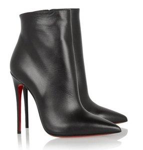 Черно-замшевые кожи Зимние Женские красные днища добыча Eloise Knee Boots Высокие каблуки Lady Combat Booties Черная замша с застежкой на молнии, свадьба элегантна