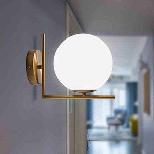 Wall Lamps Modern Led Lamp Sconce For Living Room Bedroom Light Iron Body Glass Lampshade Bathroom Retro Home Lighting
