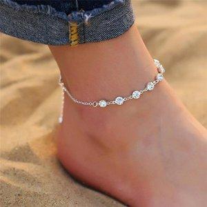 Anklets Fashion Crystal For Women Gold Silver Color Boho Anklet Strap Bracelet On The Leg Foot Bracelets Bohemian Jewelry