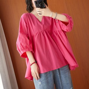 Oversized Women Cotton Linen Casual T-shirts New Arrival Fashion Freely Style Vintage V-neck Loose Female Tops Tees S3771 210412