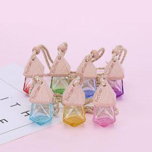 NewCar Perfume Bottle Pendant Essential Oil Diffuser 9 Colors Bag Clothes Ornaments Air Freshener Pendant Empty Glass Bottle Perfume EWD173