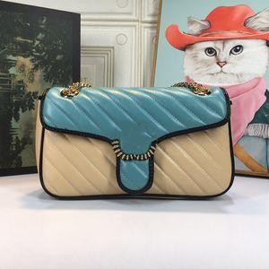 Kadın Lüks Tasarımcılar Çanta 2021 Moda Tek Omuz Messenger Çanta Parlak Klasik Renk Eşleştirme Retro Konfor 443497 Boyutu 26 cm