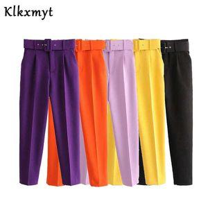Klkxmyt Suit Pants Women High Waist Office Wear Lady Purple Long Trousers With Belt Sashes Fashion Pockets Female Chic 210527