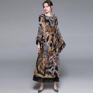 Женщины Осень Элегантное Длинное Maxi Платье Festa Женщина Высокое Качество Винтаж Партия Робичка Femme Tassele Дизайнер Vestidos Повседневные Платья