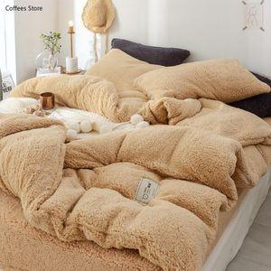 Bedding Sets 45Solid Lamb Cashmere Set 2021 Thicken Flannel Fleece Bed Linens Velvet Duvet Cover Sandred Pillowcase