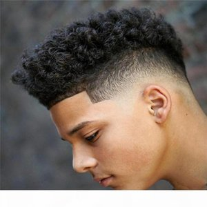 Cheap Hair System Replacement Afro Curl Human Hair Toupee For Men Human Hair Replacement System Hairpieces